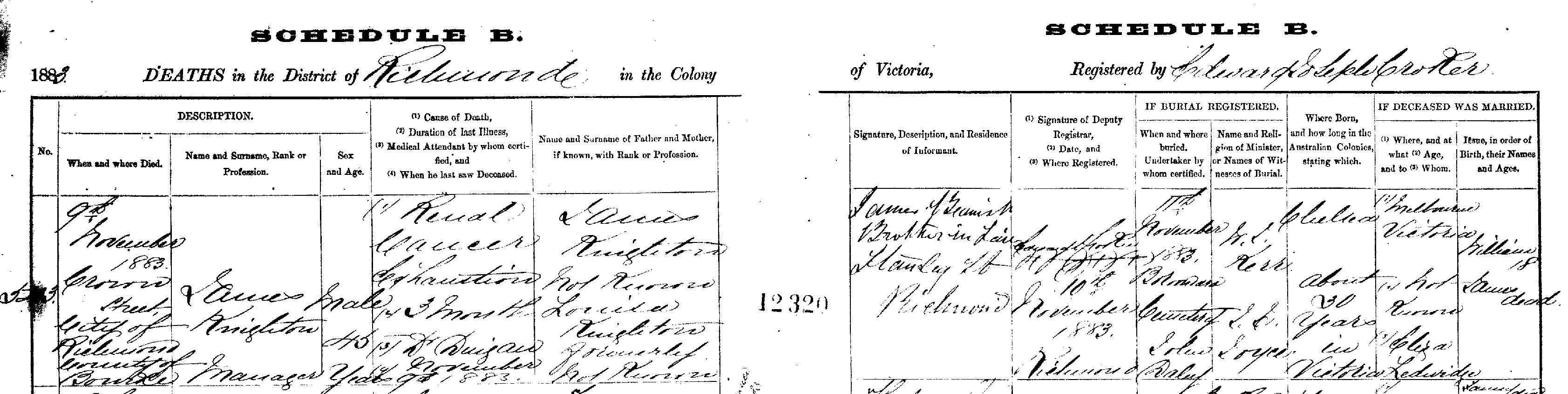 James Knighton Death Certificate 1883_cropped