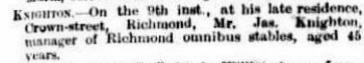 James Knighton Death Notice The Argus Mon 12 Nov 1883