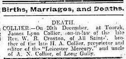James Lyon Collier Death Notice in Bendigo Advertiser 27 Dec 1902 cr