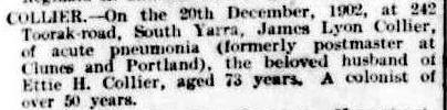 James Lyon Collier Death Notice in The Argus 22 Dec 1902 cr