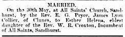 James Lyon Collier Marriage 31 May 1871 Bendigo Advertiser 31 May 1871