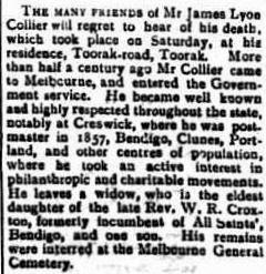 James Lyon Collier Obit The Portland Guardian 24 Dec 1902cr