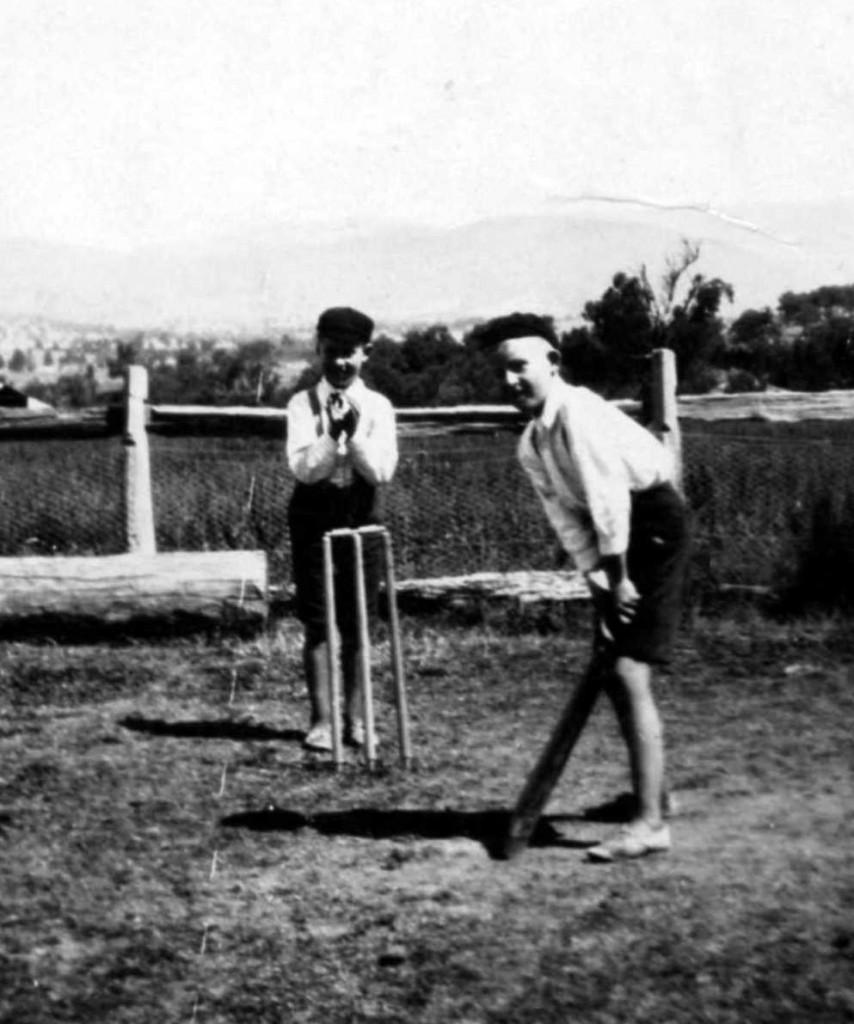 Joe & Bernard Glass playing cricket cr2