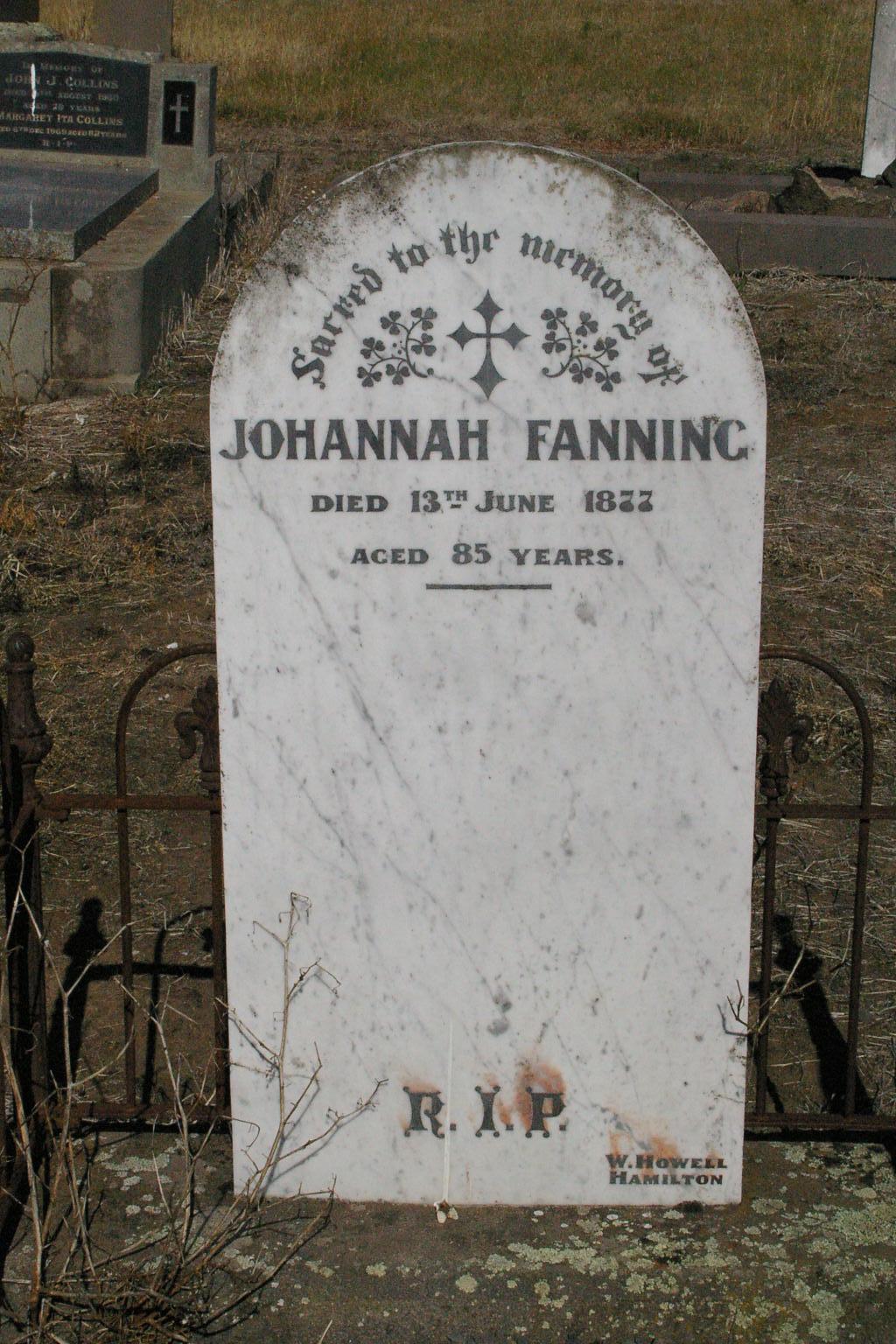 Johannah Fanning 1877 Penshurst Gravestone