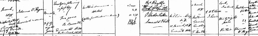 Johannah O'Regan 1878 Death Certificate