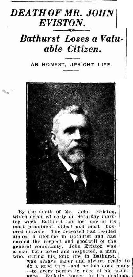 John Eviston Obit 1925 Freemans
