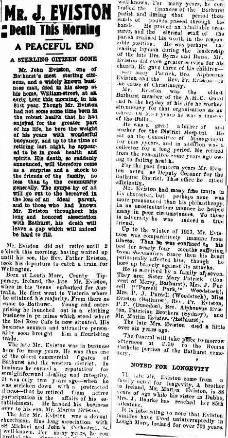 John Eviston Obit Bathurst Times 1 Jan 1925