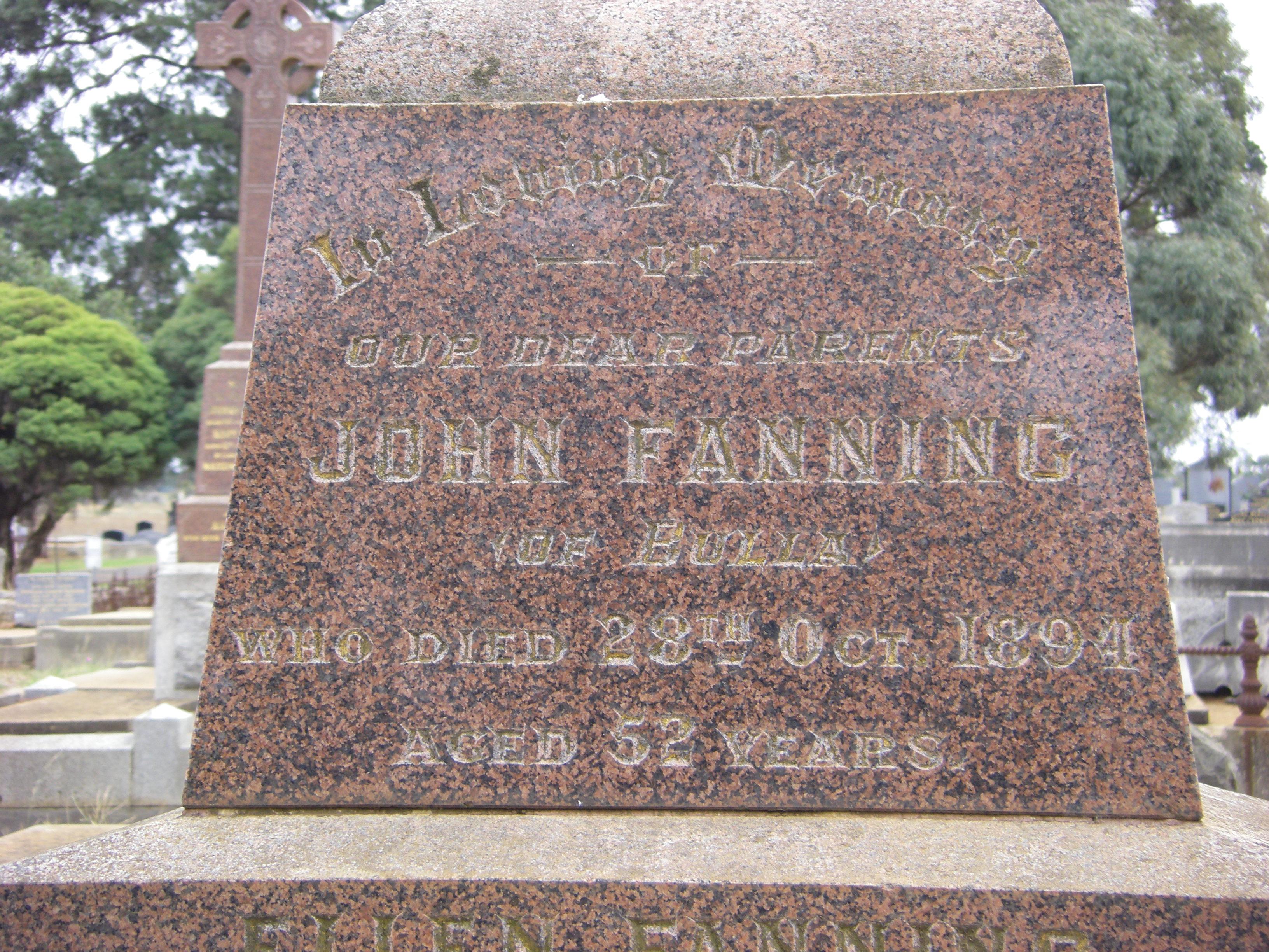 John Henry Fanning 1894 Bulla