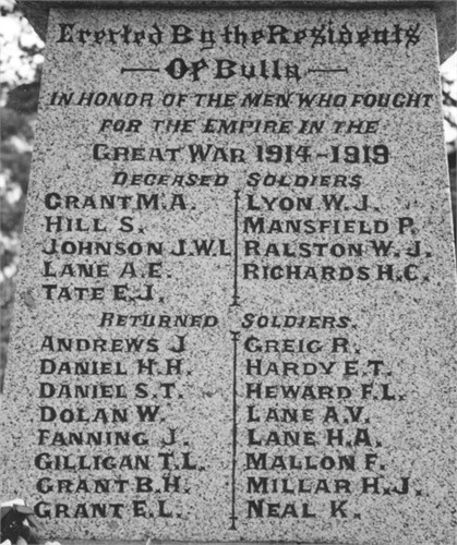 John Thomas Fanning Bulla war memorial