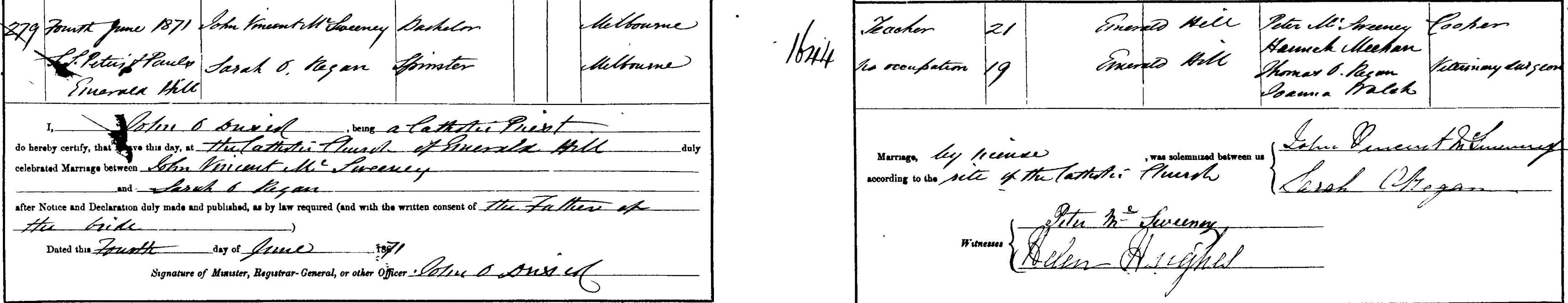 John Vincent McSweeney and Sarah O'Regan Marriage 1871cropped