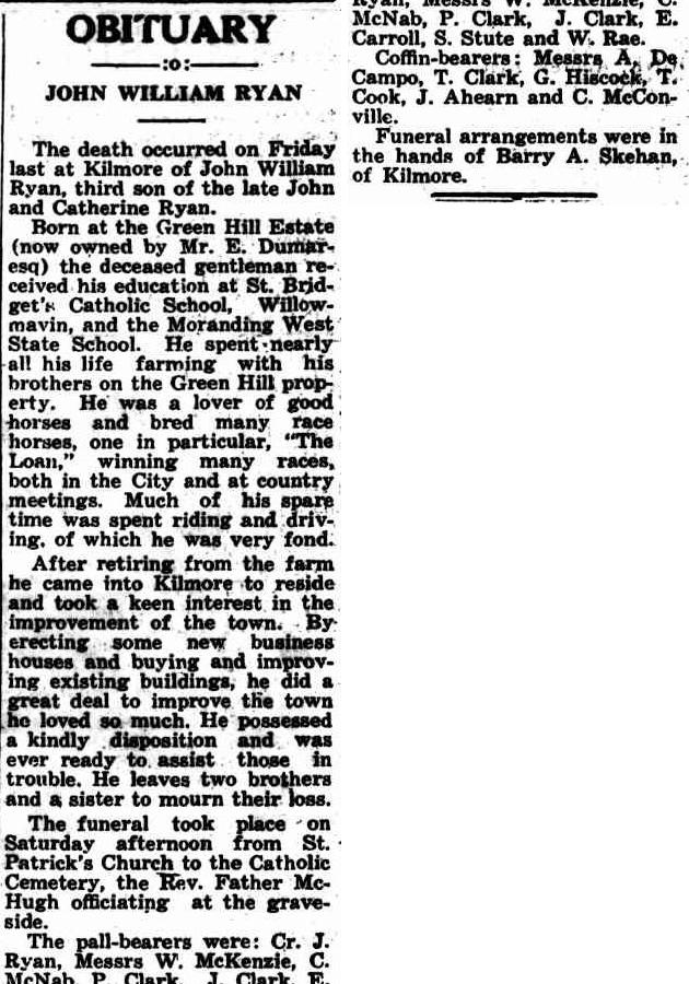 John William Ryan Obit Kilmore Free press May 1 1941