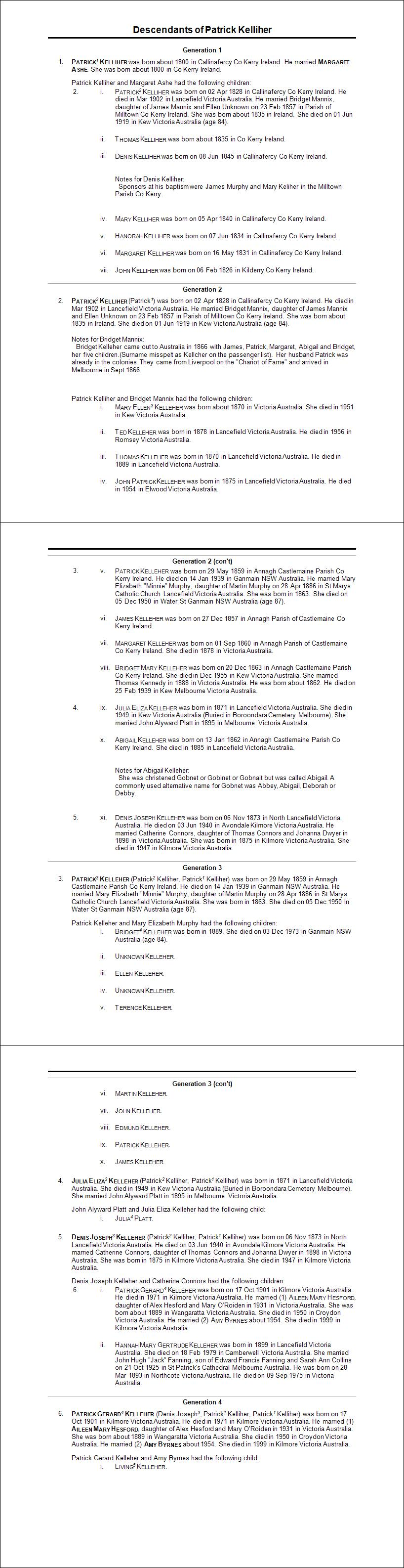 Kelliher Descendant Report 2015