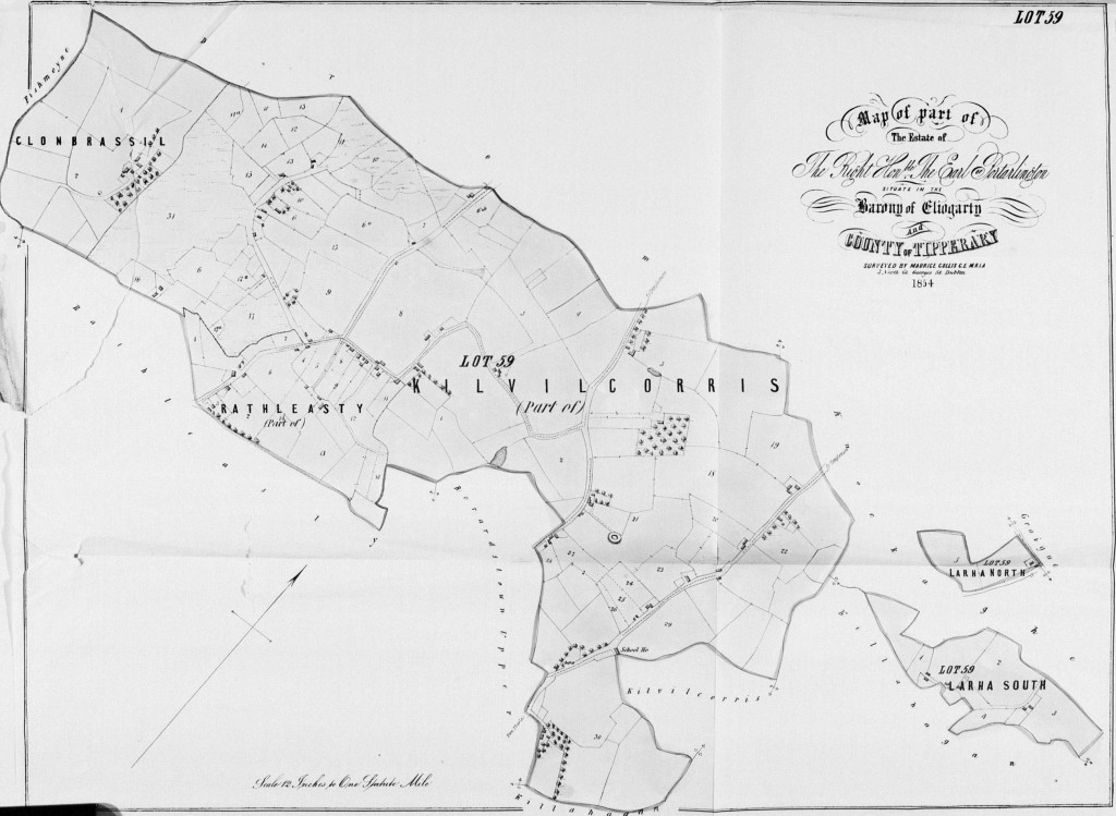 Kilvilcorris 1855 Map from Landed Estates Rentals