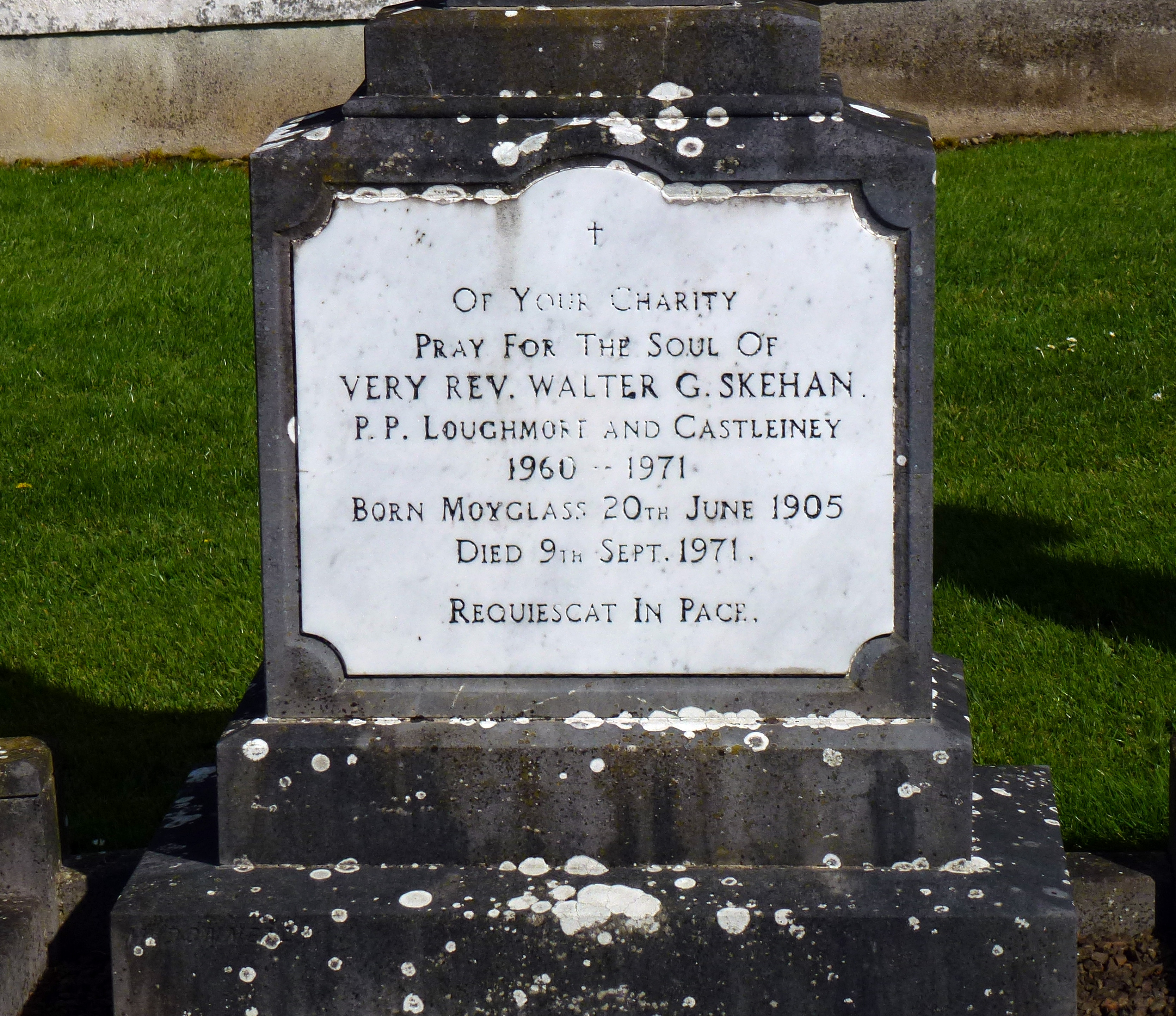 Loughmore Cemetery Co Tipperary Ireland Fr Walter Skehan 1905-1971use