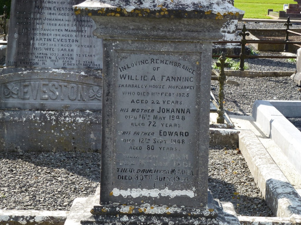 Loughmore Cemetery Shanbally House Fannings Gravestone Co Tipperary Ireland