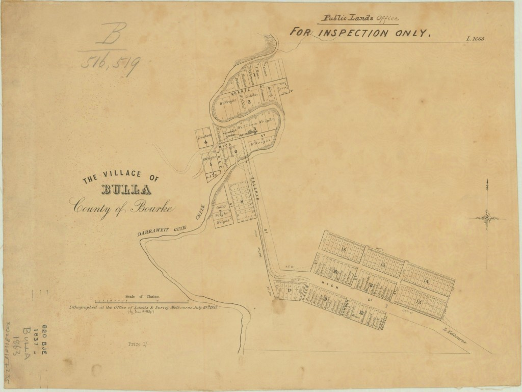 Map of Bulla Township Victoria Australia1863