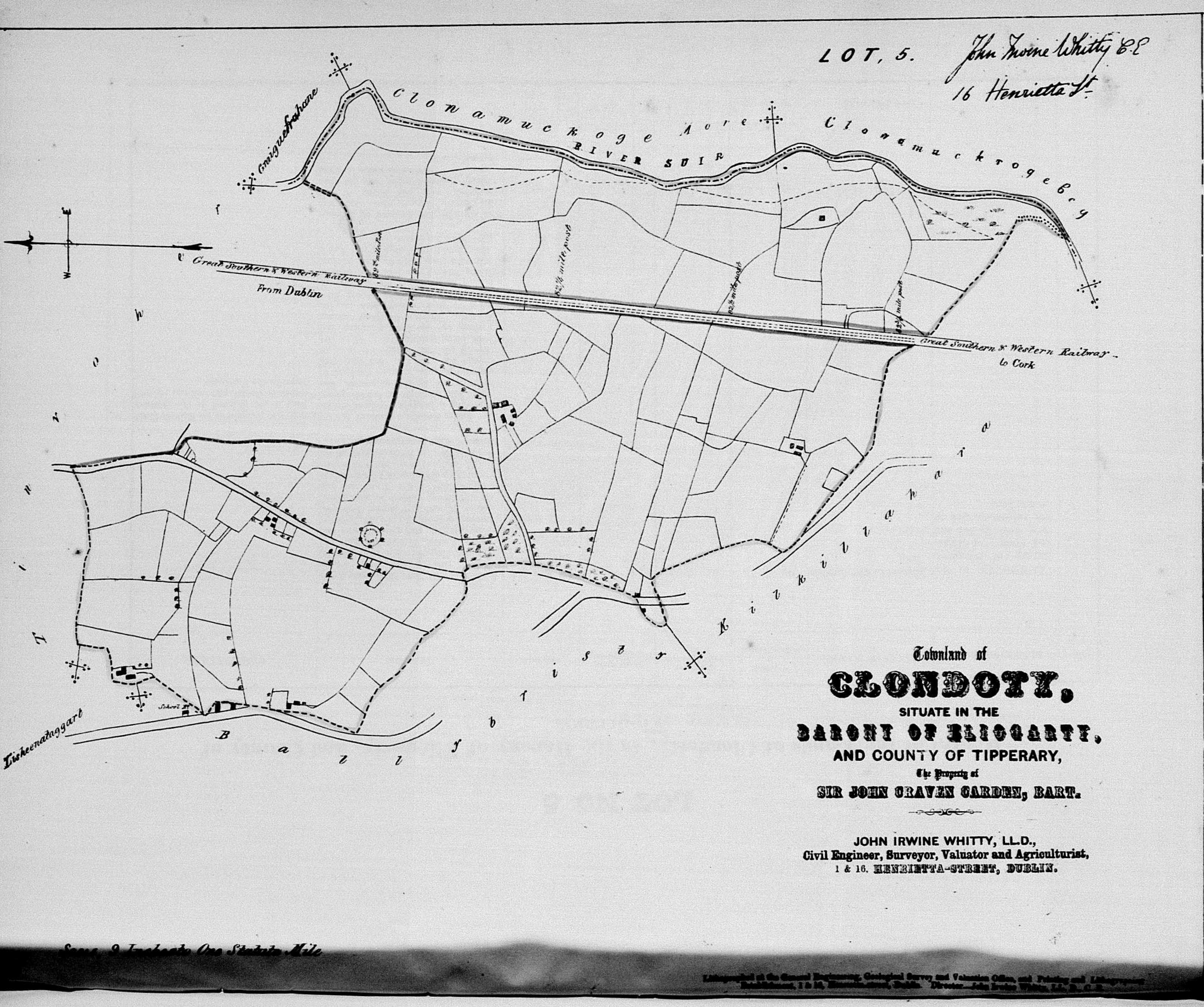 Map of Clondoty Townland from Landed Estates Court Rentals 1853