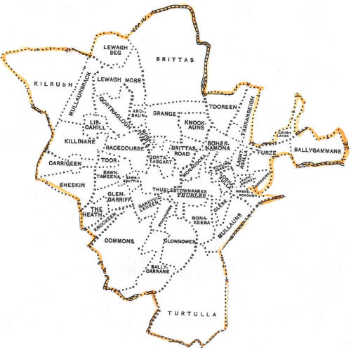 Map of townlands in Thurles Co Tipperary