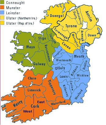 Map of irish Counties use
