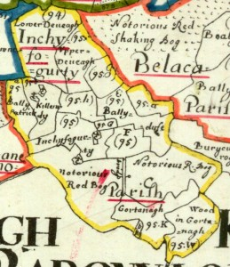 Map of theTownland of Lissaroon in Down Survey 1656-1658