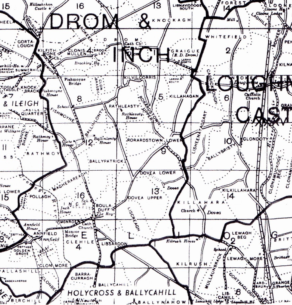 Map showing Lissaroon, Barracurra and Kilvilcorris
