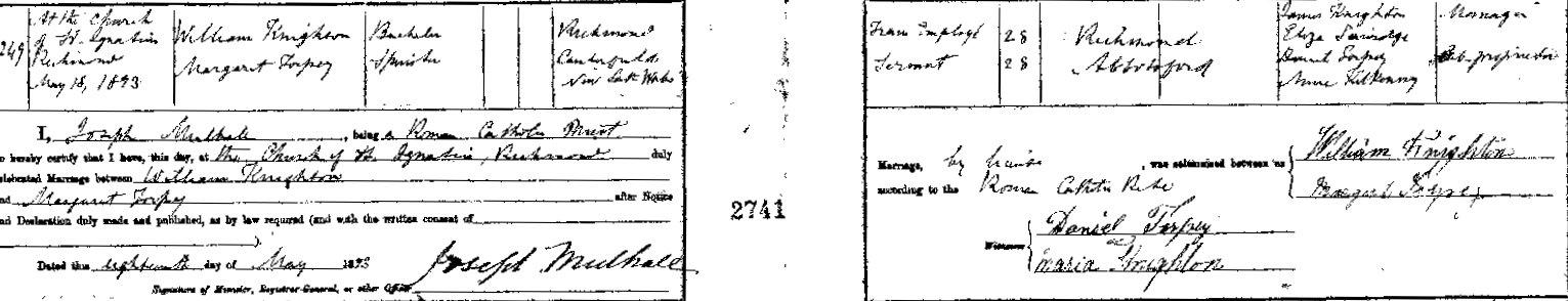 Margaret Torpey Marriage William Knighton 1893 cropped