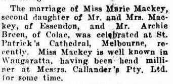 Mary Mackey Wedding notice Albury Banner and Wodonga Express 1923