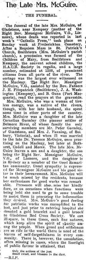 Mary McGuire nee Gormley Obit Catholic Press 1916 cr