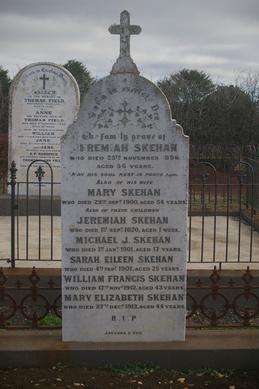 Mary and Jeremiah Skehan and children Gravestone Lancefield Cemetery