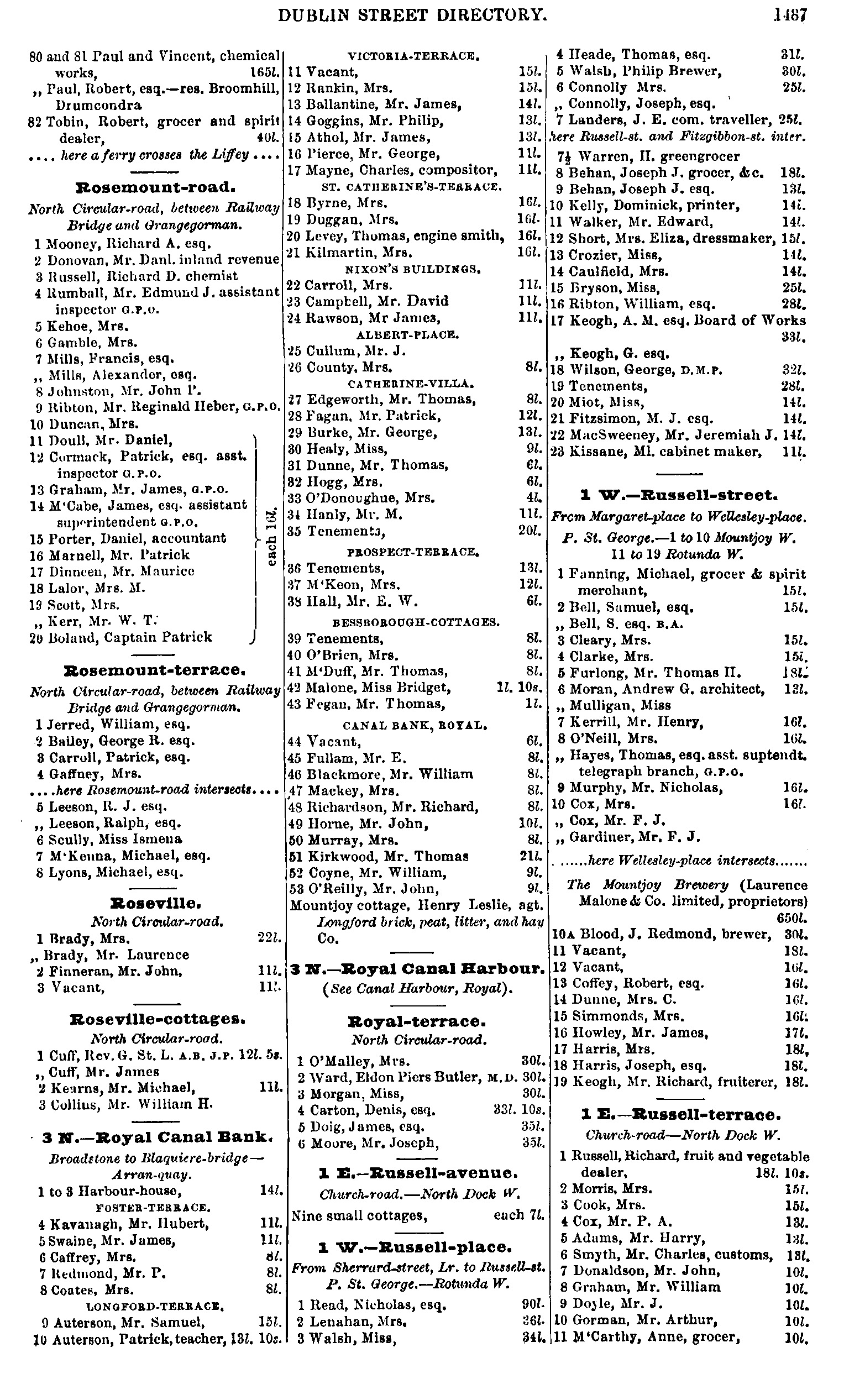 Michael Fanning 1894 Dublin Thom's Directory