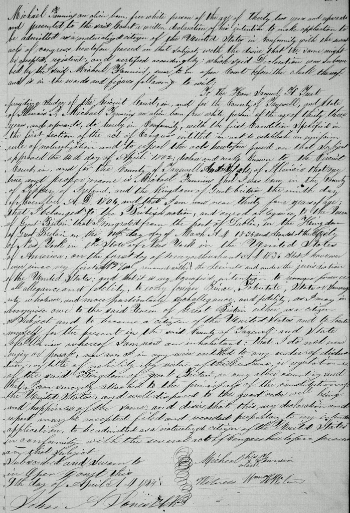 Michael Fanning Declaration of Intention April 9 1844cr page 2
