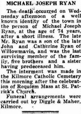 Michael Joseph Ryan Obit Kilmore Free Press 20 April 1950 cr
