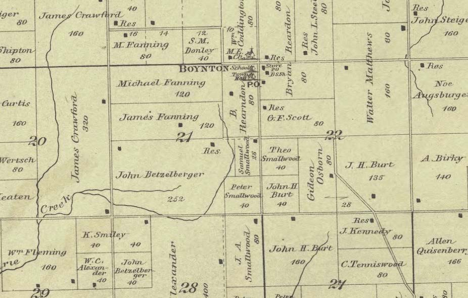 Fanning Land Holdings in 1891 from the Plat Book of tazewell