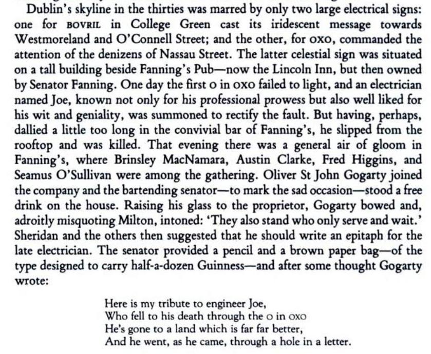 Lincoln's Inn Dublin and Oliver St John Gogarty