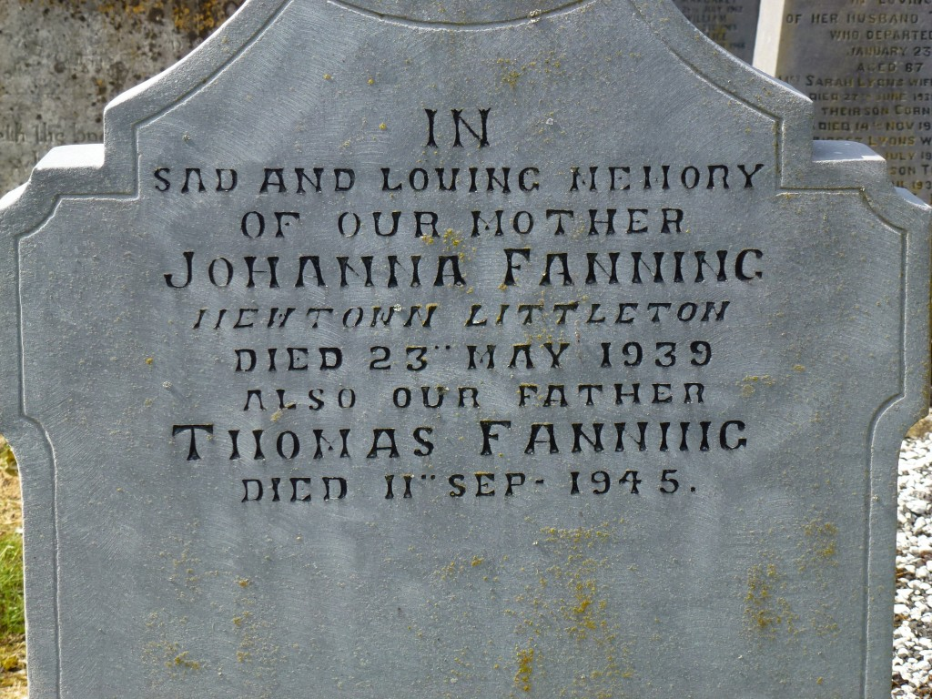 Moycarky Old Cemetery Johanna & Michael Fanning of Newtonn Littleton Co Tipperary Ireland