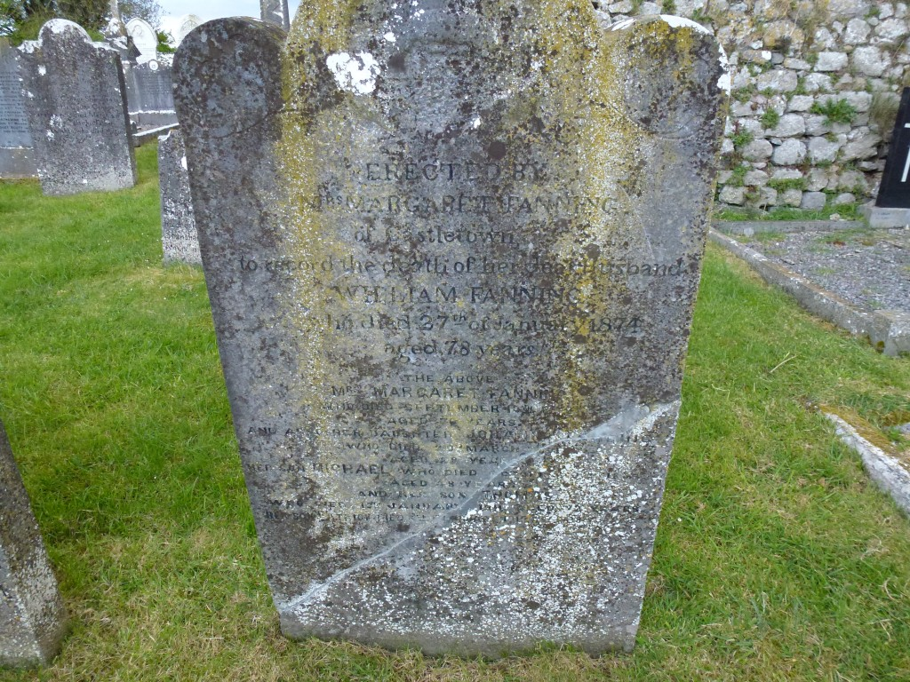 Moyne Cemetery Co Tipperary Ireland Margaret & Wm Fanning of Castletown