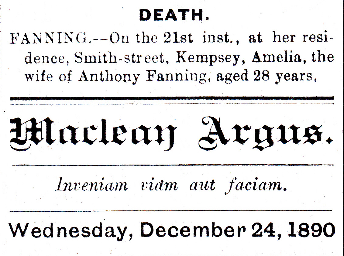 Notice of Death of Amelia Fanning 1890_0001_NEW