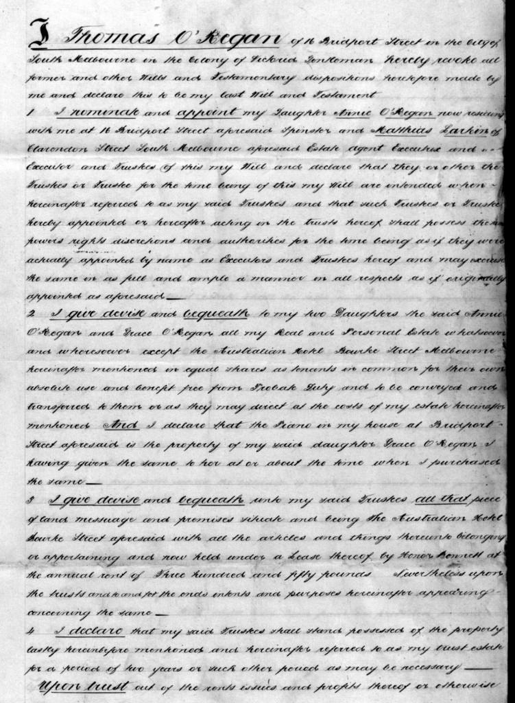 O'Regan Thomas Will 1888 page 1