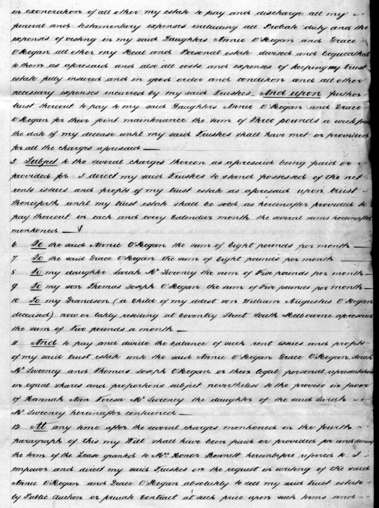 O'Regan Thomas Will 1888 page 2