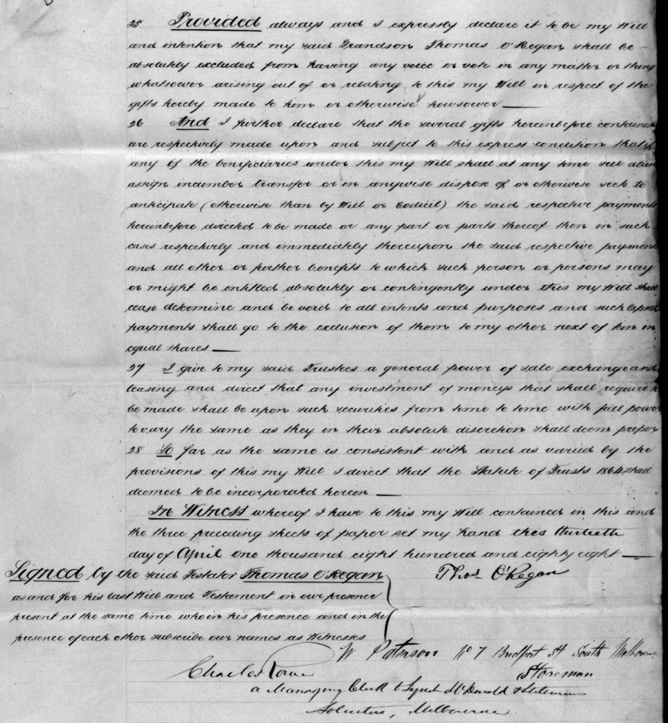 O'Regan Thomas Will 1888 page 4