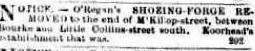 O'Regan's Shoeing Business Moves Argus 12 Feb 1858 CR