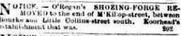 O'Regan's Shoeing Business Moves Argus 12 Feb 1858 CR