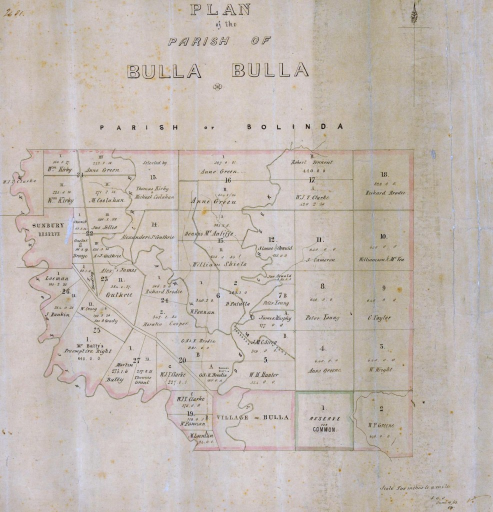 Parish Plan of Bulla 1856