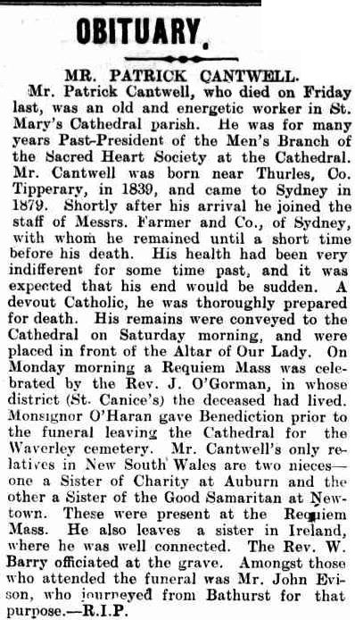 Obituary for Patrick Cantwell Freeman's Journal 24 Dec 1908