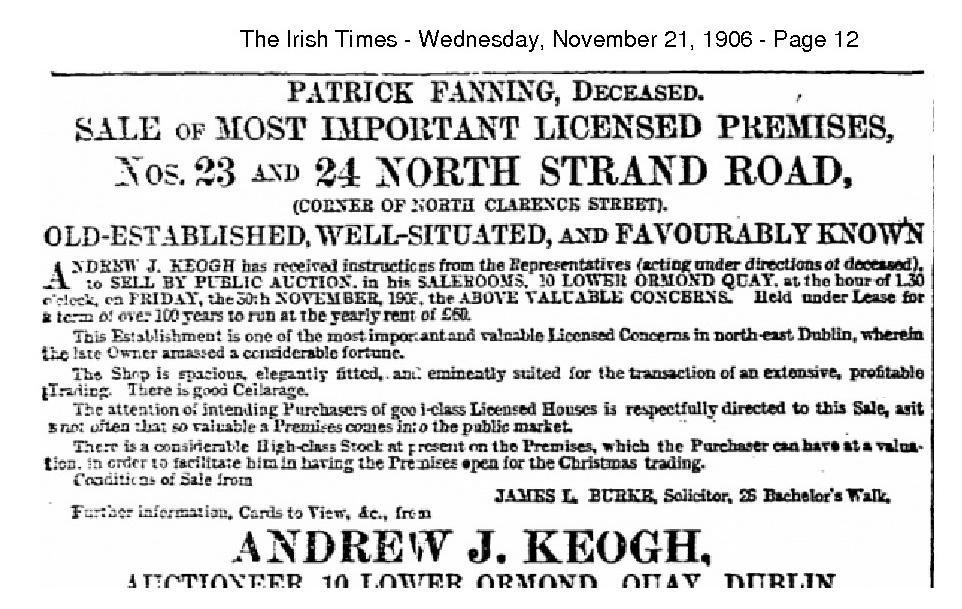 Patrick Fanning Auction of 23 North Strand 1906 Irish Times_use
