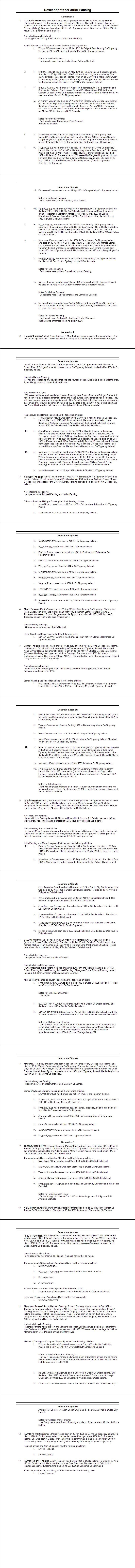Patrick Fanning Lisdonowley Descendant Report 2015