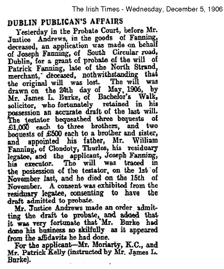 Patrick Fanning Probate Irish Times 5 Dec 1906