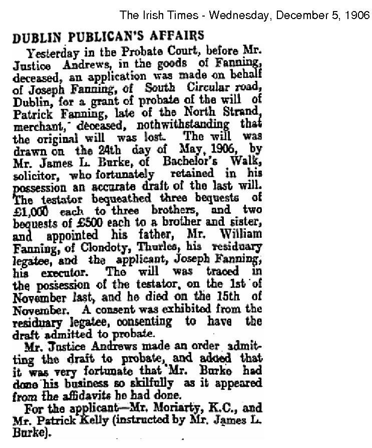 Patrick Fanning Probate Irish Times 5 Dec 1906