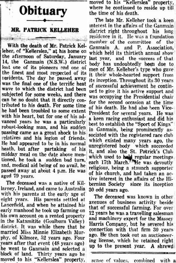 Patrick Kelleher Obit Kilmore Free press 9 Feb 1939