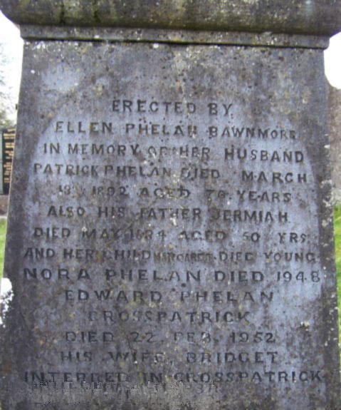 Patrick Phelan husband of Ellen Fanning Moyne Cemetery